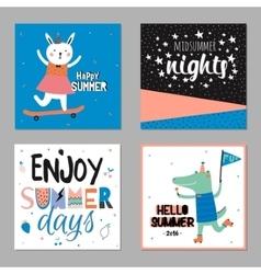 Cute hello summer cards vector