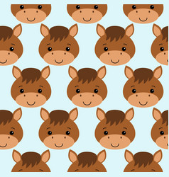 cute horse seamless pattern on blue background vector image