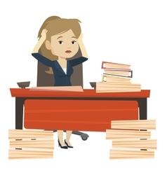 Despair business woman working in office vector