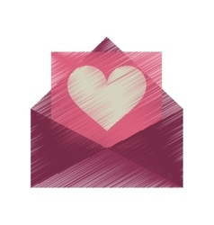 Drawing pink envelope with valentine heart vector