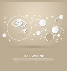 Eye tears icon on a brown background with elegant vector