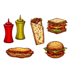 Fast food burger and sandwich sketch set vector
