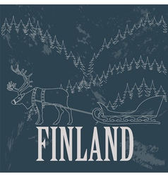 Finland landmarks Retro styled image vector