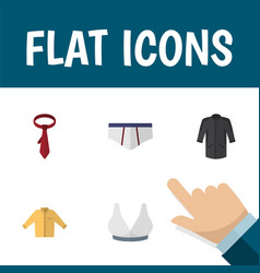 Flat icon garment set of banyan brasserie vector