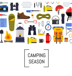 flat style camping elements background vector image