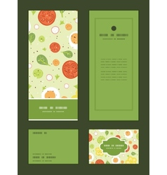 Fresh salad vertical frame pattern invitation vector