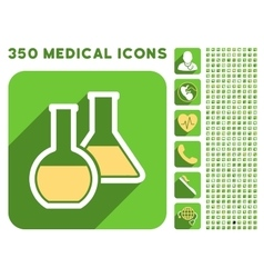 Glass Flasks Icon and Medical Longshadow Icon Set vector image
