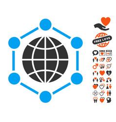 Global frame icon with valentine bonus vector