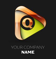 golden letter q logo in golden-green triangle vector image