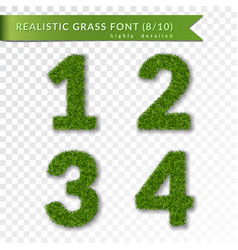 Grass numbers 1 2 3 4 green numbers one two vector
