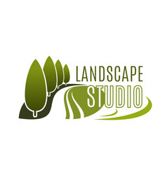 Green landscape design studio icon vector