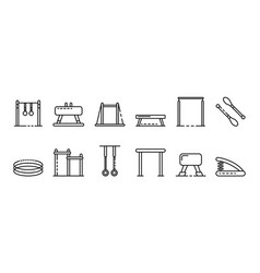Gymnastics equipment icons set outline style vector