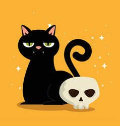 halloween card with black cat and skull vector image