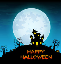 Halloween night background with creepy castle in c vector