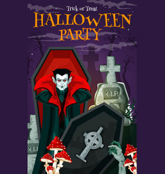 Halloween vampire card for horror party invitation vector