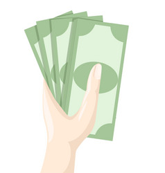 Hand holding money saving dollar flat design style vector