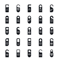 Hanger tags door hotel icons set simple style vector