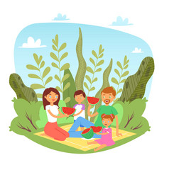 happy family with kids on picnic with watermelon vector image