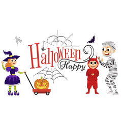 happy halloween family party flat poster vector image