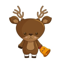 Happy merry christmas reindeer kawaii character vector
