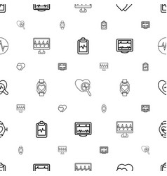 Heartbeat icons pattern seamless white background vector