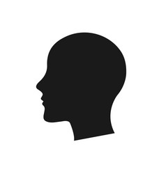 human head silhouette black color white vector image
