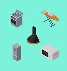 Isometric appliance set of microwave stove cloth vector