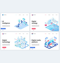 isometric digital social media technology vector image