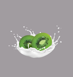 kiwi fruit and milk splash 3d style vector image