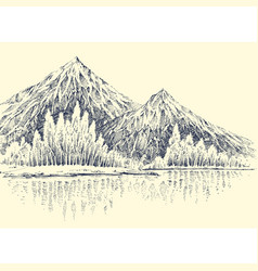 Lake in mountains alpine forest landscape vector