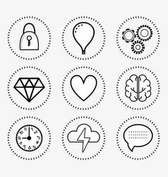 Line set icon mental health vector