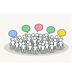 Little white people talk with chat bubbles vector