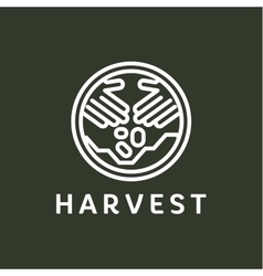 Logo outline horticulture crop plant soil style vector image