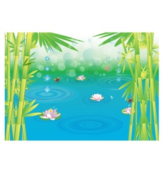 Magical wetlands with bamboo vector
