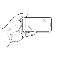 mobile phone in hand front view sketch hand vector image