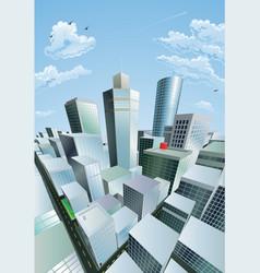 Modern cityscape city centre financial district vector