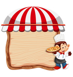 Monkey chef on wooden banner vector