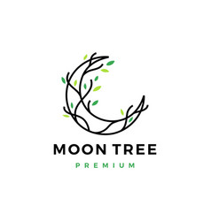 Moon tree crescent root leaf logo icon vector