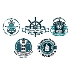 Nautical themed emblems or badges vector image