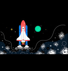 outer space - colorful flat design style vector image