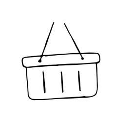 Plastic basket hand drawn doodle shopping cart vector image