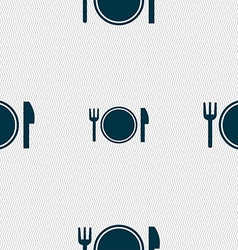 Plate icon sign Seamless pattern with geometric vector