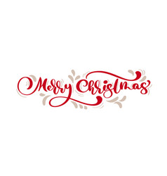 red merry christmas vintage calligraphy lettering vector image