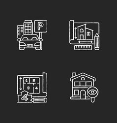 Residential house structure chalk white icons set vector
