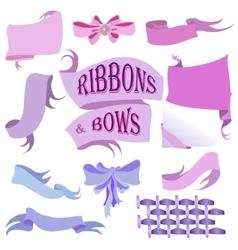 Ribbons and bows set hand drawn vector
