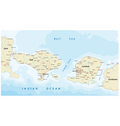Road map indonesian islands bali and lombok vector