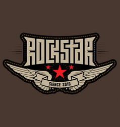 Rock star - patch with stitching rockstar vector