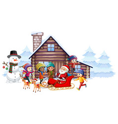 Santa claus and kids on sleigh vector