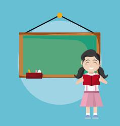 school girl reading a book vector image