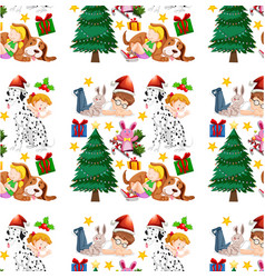 seamless background design with children and vector image